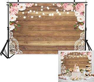 7x5ft Wood Texture Floral Curtain Lace Flower Border Light Background for Bridal Baby Shower Birthday Bachelorette Party Photography Backdrop Studio Prop Rustic Wedding Decorations