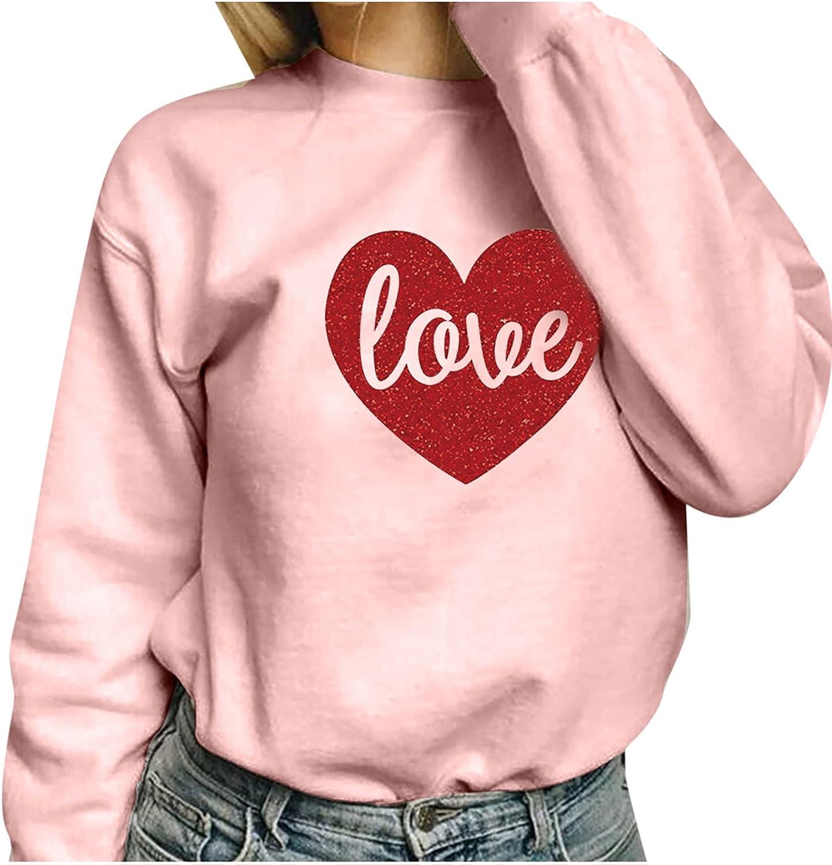 Women's Fall Pink Crewneck Sweatshirt Tops Great interest Oklahoma City Mall Heart Fashion Print