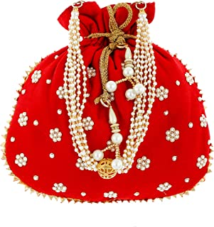 Heart Home Ethnic Clutch Silk Potli Batwa Pouch Bag with Beadwork Gift for Women (Red) - (CTHH013642)