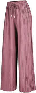 Made By Johnny Women's Premium Pleated Wide Leg Palazzo...