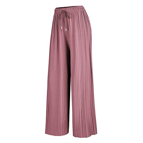 eb8225eda73 Made By Johnny MBJ Womens Pleated Wide Leg Palazzo Pants with Elastic Band