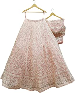 Ultimate Ecommerce Women's Georgette Semi-stitched Lehenga Choli (ULT_Light Pink_ER12721_Light Pink_Free Size)