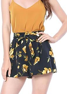 8a12393e1 Allegra K Women's Floral Print Elastic Tie Waist Beach Summer Shorts