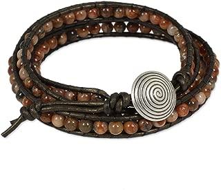 Jasper .925 Sterling Silver Leather Beaded Bracelet, 20.75