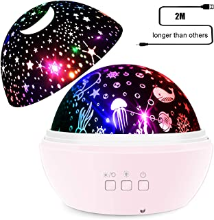 SYOSIN Baby Night Light,Bedside Lamp 360°Rotating 8 Colors Mode USB Adapter Projector LED Night Lights Projector Ocean Undersea Lamp and Starry Sky Projector for Kids Baby Bedroom Decoration(Pink)