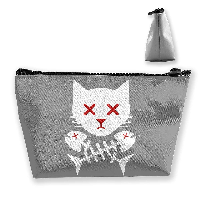 猫の頭蓋骨の骨の魚 ペンケース文房具バッグ大容量ペンケース化粧品袋収納袋男の子と女の子多機能浴室シャワーバッグ旅行ポータブルストレージバッグ