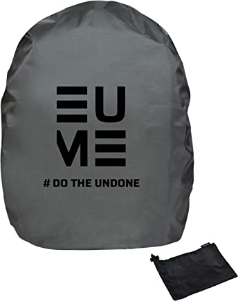 Eume Polyester 50 LTR Rain and Dust Cover with Pouch for Laptop Bag/Casual Bag (Grey/Black)