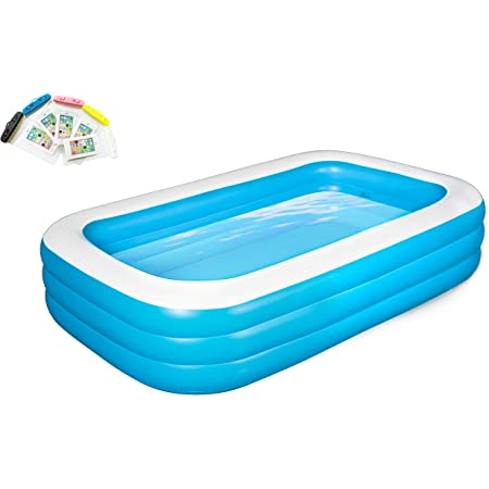 Tooavil Inflatable Swimming Pools Blow Up Kiddie Pool For Family Garden Outdoor Backyard 82 X 59 X 24 With 5 Pack Phone Waterproof Bag Free Garden Outdoor