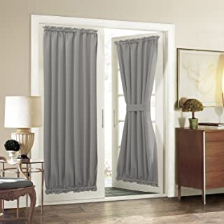 Aquazolax Blackout Patio Door Curtain Panel Draperies Thermal Insulated Blackout Solid Kitchen Door Panels 54 by 72-Inch Heavy Duty Window Treatment Drapes with Rod Pocket - 2 Panels, Grey