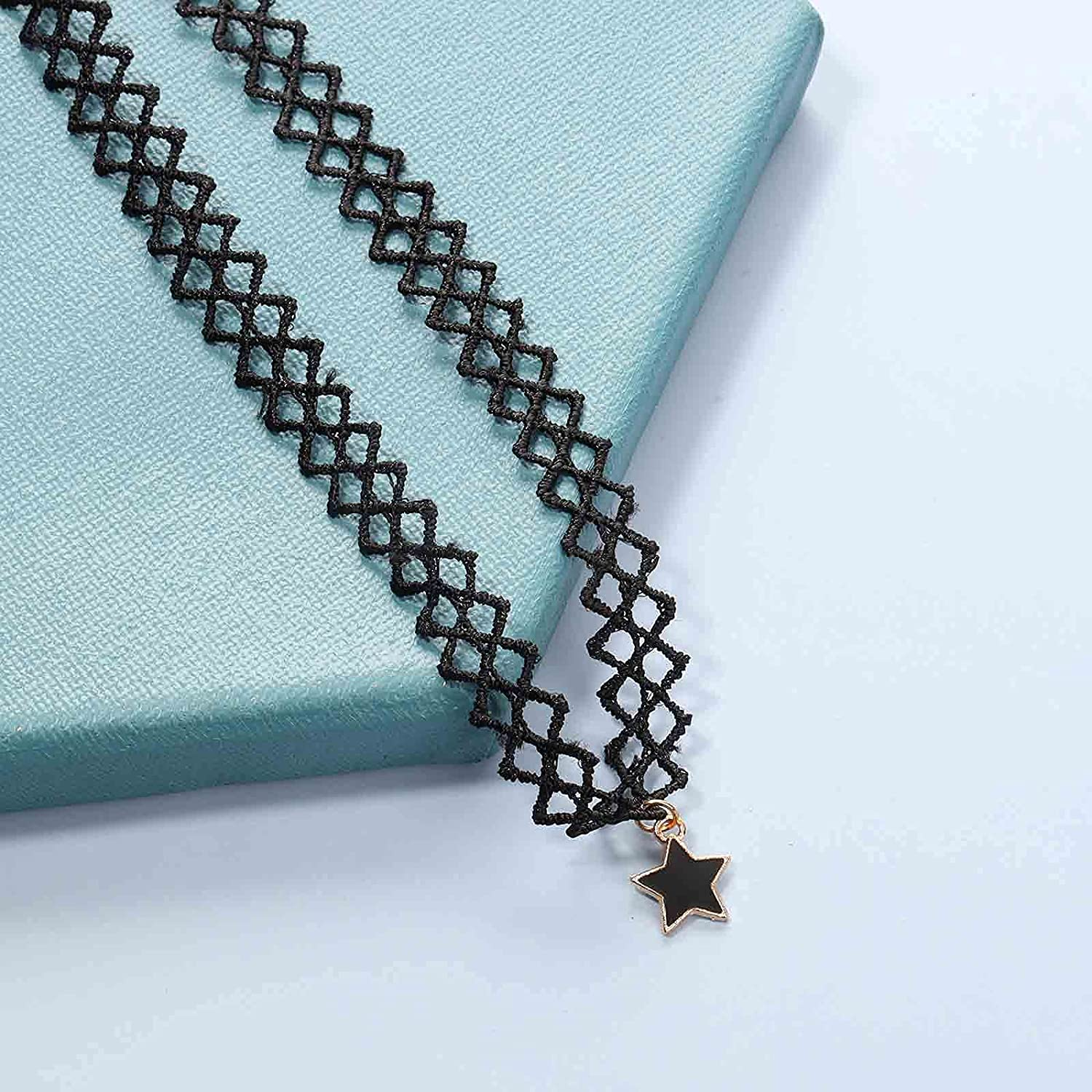 Yheakne Black Tattoo Choker Necklace Star Pendant Necklace Chain Short Hollow Lace Collar Necklace Jewelry for Women and Girls (Star)