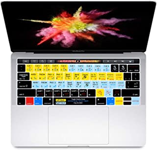 HRH Serato Scratch Live Shortcuts Hotkey Silicone Keyboard Cover Skin for MacBook New Pro with Touch Bar 13 Inch and 15 Inch(A2159/A1989/A1706,A1990/A1707) 2019 2018 2016 2017 Release US Version