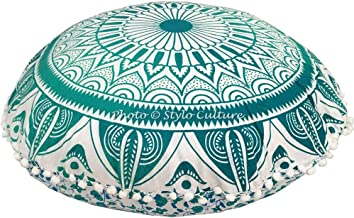 Stylo Culture Ethnic Round Floor Cushion Cover Mandala Meditation Cushion Printed Pouf Pillow Case Green 32x32 Big Decorat...