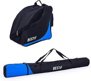 BESTIF Skidväska + skidskoväska set för skidor upp till 175 cm | vattentät skidväska ankelväska för skidskor | Skisack sva...