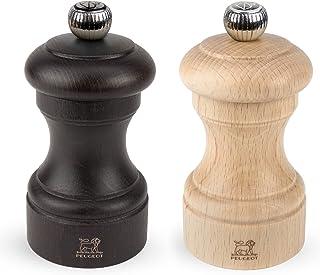 Peugeot Bistro Duo de moulins à poivre et à sel manuels, Réglage classique, Taille : 10 cm, Bois, Chocolat/Naturel, 2/22594