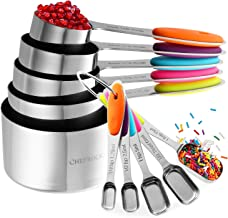 Chefrock Heavy Duty Unbreakable Stainless Steel Measuring Cups And Slim Design Spoons For Narrow Spice Jars, Set Of 10