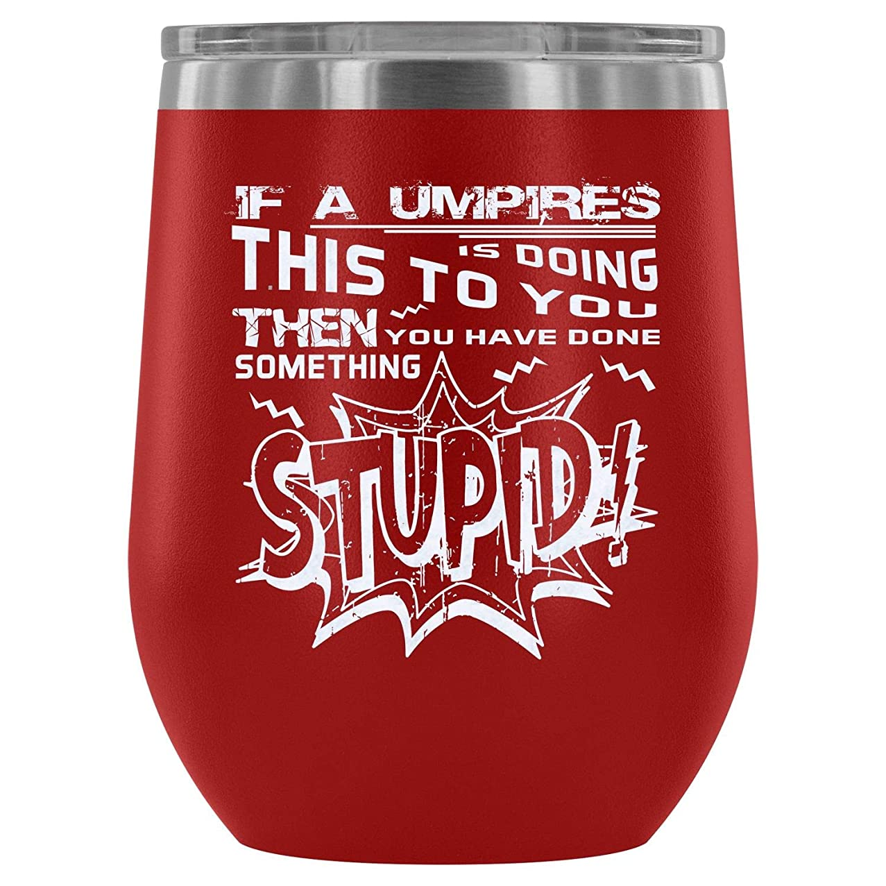 Mom Mug-Steel Stemless Wine Glass Tumbler, Cricket Player Vacuum Insulated Wine Tumbler, Playing Cricket Wine Tumbler (Wine Tumbler 12Oz - Red)