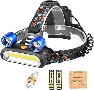 Azul Sannysis linternas de cabeza led alta potencia Pesca Ciclismo etc Linterna Frontal LED de Alta Potencia15000 lumens con pilas 2pcs bater/ía 18650 Tiene 4 Modes de Luz COB recargables para Camping