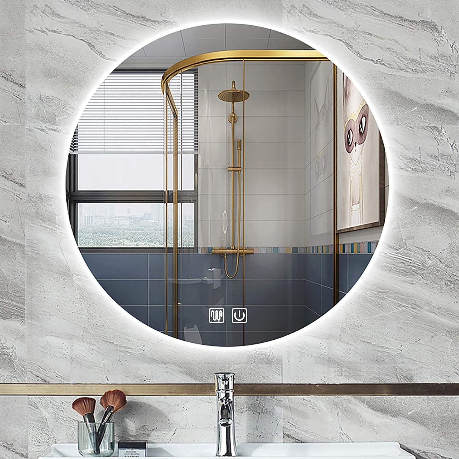 Oakland Mall VIVOCC Round Illuminated LED Bathroom with Mirror Control Fashionable Touch