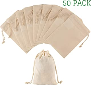Greenmile 50 Pack Muslin Drawstring Bags | Reusable Cotton Cloth Spice Bag | Perfect For Wedding Favors, Christmas, Halloween, Pre-Washed Ultra Soft (4 X 6