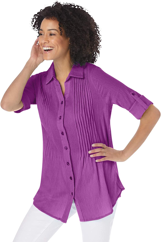 Woman Within Women's Plus Size Pintucked Button Down Gauze Shirt