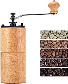 Fumao Hand Coffee Grinder Wooden Coffee Mill with Ceramic Burr, Large Capacity Dark Wood, Cast Iron Manual Crank, Portable Adjustable (Light wood)