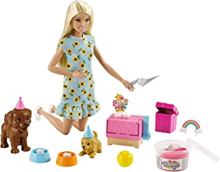 Barbie Doll (11.5-inch Blonde) and Puppy Party Playset with 2 Pet Puppies, Dough, Cake Mold and Accessories, Gift for 3 to...