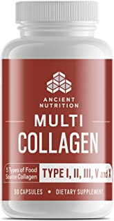 Ancient Nutrition Multi Collagen, 90 Capsules - High-Quality Blend of Grass-Fed Beef, Chicken, Wild Fish and Eggshell Collagen Peptides, Providing Type I, II, III, V and X