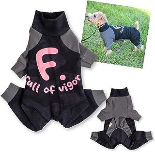 犬猫の服 full of vigor_ドッグプレイ(R)バイカラー起毛ラッシュガード_4/ブラック・ピンク_DL_小型犬・ダックス用