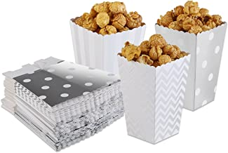 PIXNOR Popcorn Boxes Popcorn Bags Pack of 50 (Silver)