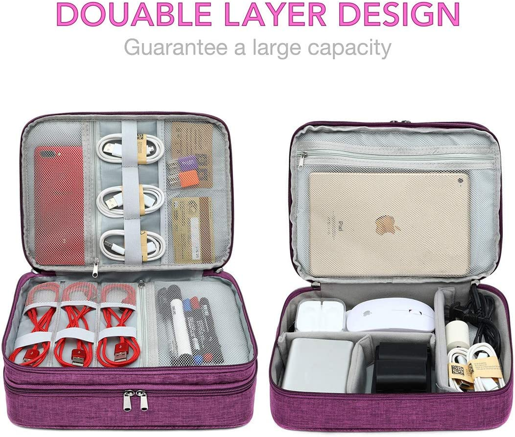 Electronic Organizer Travel Cable Accessories Bag Portable Gadget Storage Cases Waterproof Universal Cord Storage Pouch for Office Home(Double Layer,Pink)