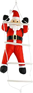 Athoinsu Hanging Christmas Decorations Santa Claus Climbing On Rope Ladder Toy 24'' Christmas Tree Ornaments Indoor Outdoor Holiday Fireplace Decoration Xmas Party Prop(Style 2)