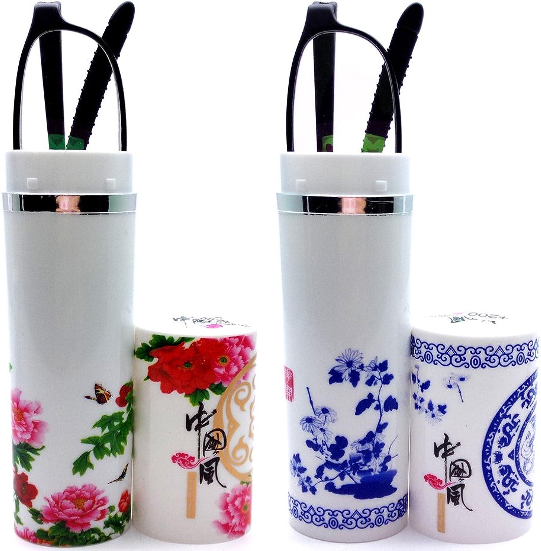 2 Pairs Plastic Rim Slim Frame Flower Reading Glasses Pocket Floral Tube Reader Will Receive Random Tube Design
