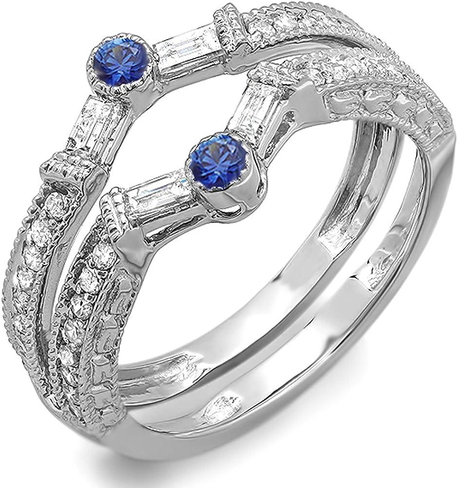 Dazzlingrock Collection 18K Round & Baguette White Diamond & Blue Sapphire Ladies Wedding Enhancer Guard Band, White Gold