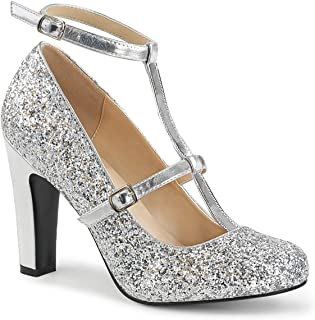 QUEEN-01 Women's Round Toe Pump with Glitters