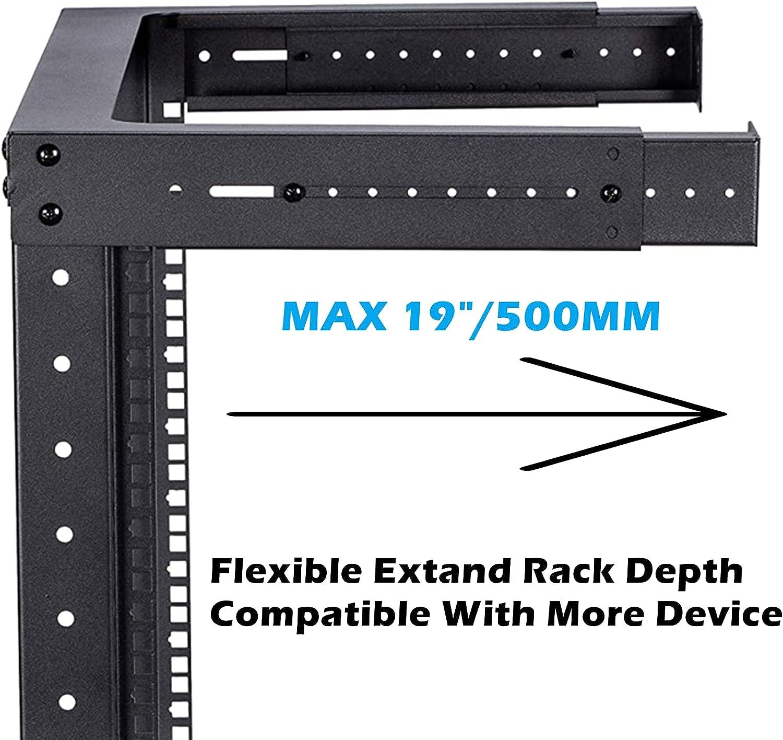 TECHTOO Wall Mount Rack 4U Adjustable Depth Open Frame 19Inch Server Equipment Rack Heavy Duty Patch Panel Bracket Network Equipment Rack (Adjustable 4U)
