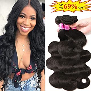 Brazilian Virgin Hair 3 Bundles 10 12 14 inch Body Wave 8A 100% Unprocessed Virgin Human Hair Bundles Weave Extensions Natural Black Color Remy Hair