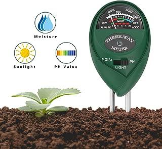 Housolution Medidor de PH del Suelo, Kit de 3 en 1 Probador de Suelo para PH, Luz Solar y Humedad del Suelo Herramientas de Jardinería para Uso en La Planta de Patio de Césped - Verde