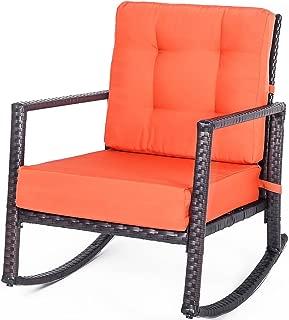 Merax Patio Chairs Outdoor Glider Rattan Rocker Chair Wicker Rocking Chairs with Orange Cushions for Porch Garden Lawn Deck