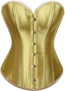 Women Corset Sexy Slim Satin Body Shaper Strapless Overbust Plus Size Corset Underwear (Color : Gold, Size : 6X-Large)