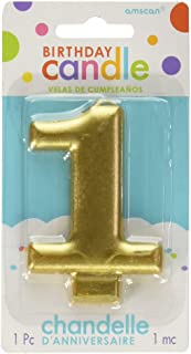 """Amscan Birthday Celebration, Numeral #1 Metallic Candle, Party Supplies, Gold, 3 1/4"""" - 170417"""
