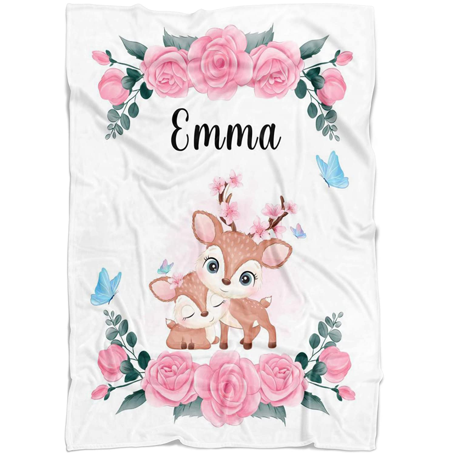 Pink Deer Mother Baby Custom for Blanket Name Flora Kansas City Mall Clearance SALE Limited time Girl
