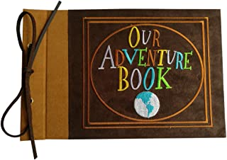 LINKEDWIN Embroidered Our Adventure Book, Suede Hardcover Scrapbook with Pixar Up Themed Postcards, Wedding and Anniversary Photo Album, Memory Keepsake, 11.6 x 7.5 inch, 80 Pages (Light Brown)