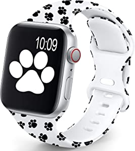 OHOTLOVE Compatible with Apple Watch 38mm 40mm 42mm 44mm for Women Men, Soft Silicone Pattern Printed Replacement Wristband Band For Iwatch Series 6 & Series 5 4 3 2 1.Paw B