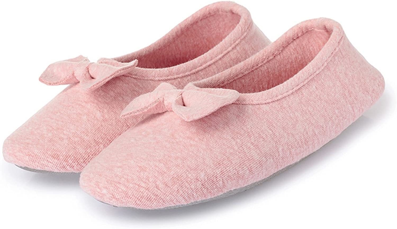 L-RUN Women's Ballerina Style Slippers Anti-Skid House Indoor shoes Washable
