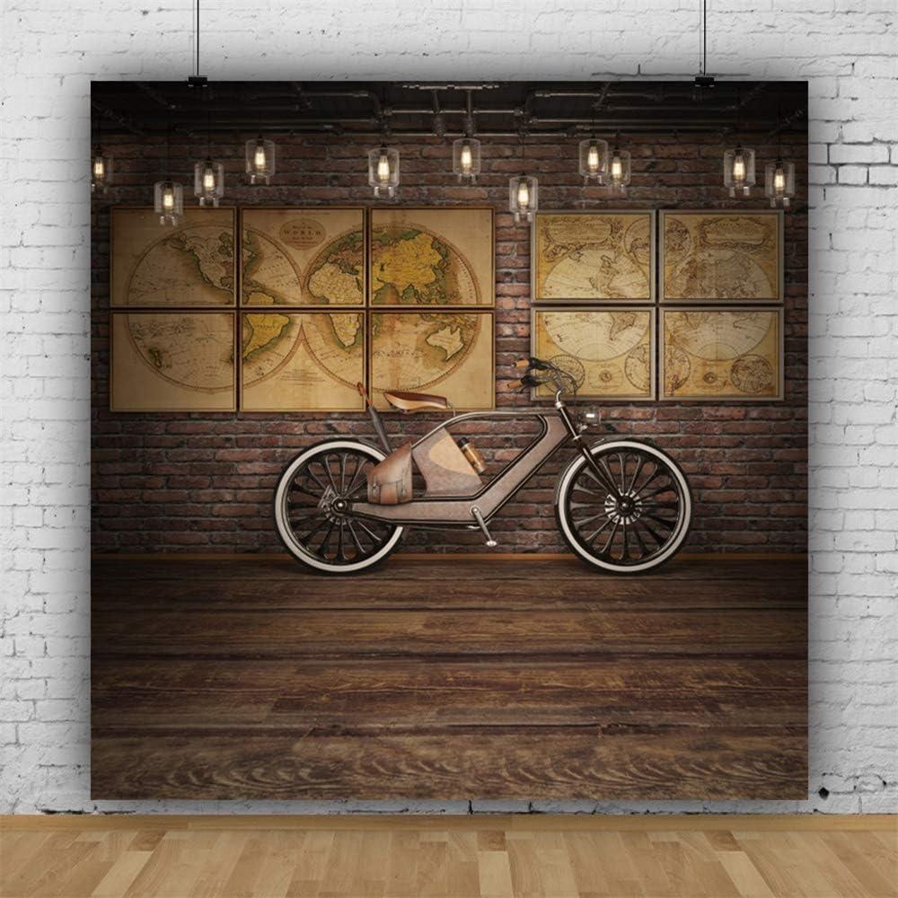 Leowefowa 6x6ft Steampunk Theme Backdrop for Photography Vinyl Antique Bicycle Old Lanterns Retro World Maps Rustic Wooden Floor Background Nostalgia Style Child Adult Photo Shoot Studio Props