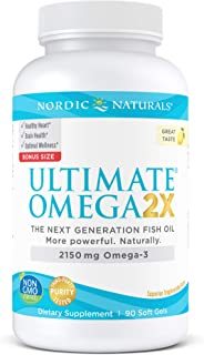 Nordic Naturals Ultimate Omega 2X, Lemon Flavor - 2150 mg Omega-3-90 Soft Gels - High-Potency Omega-3 Fish Oil with EPA & ...