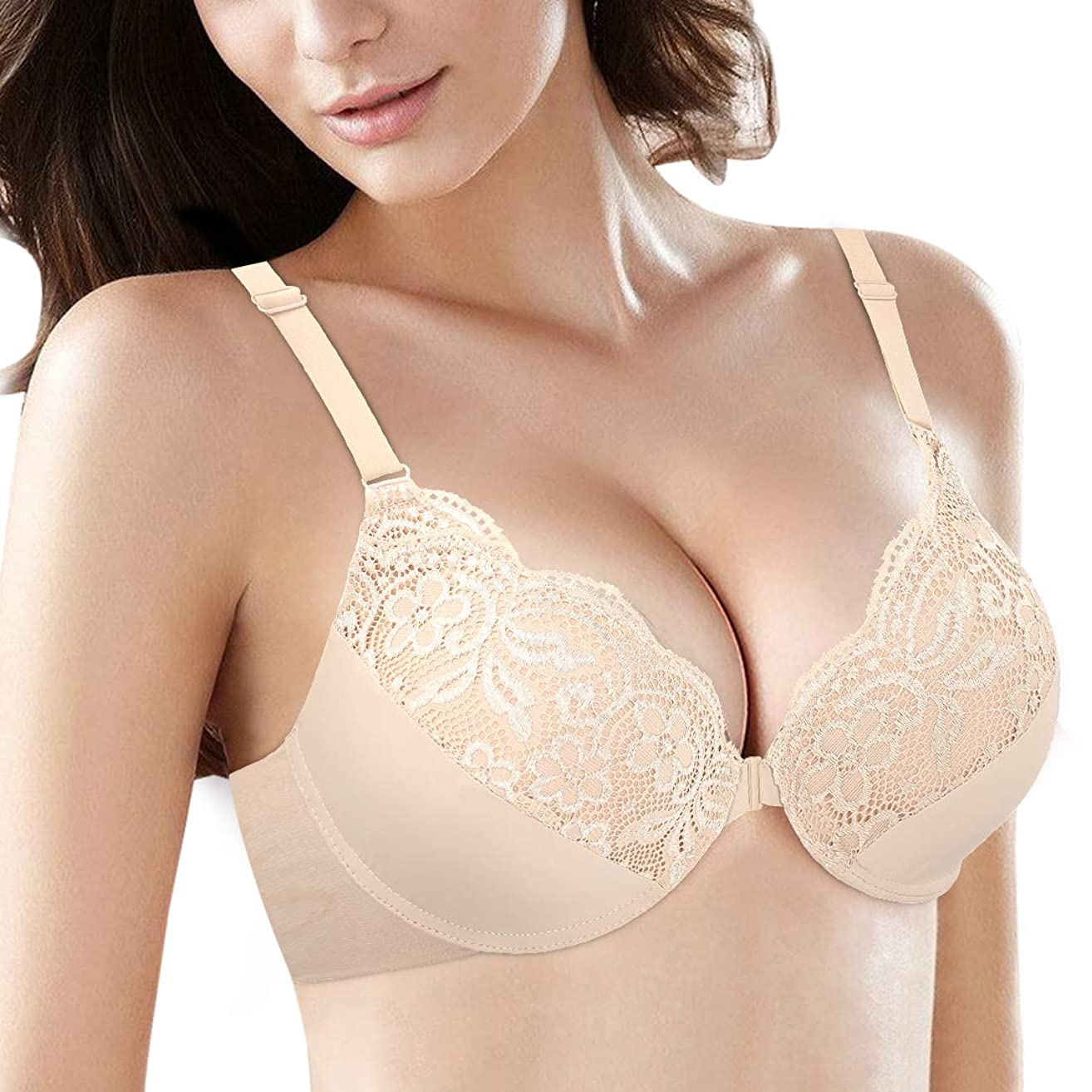 38C-46DDD Women's Plus Size Front Closure Bra Support Underwire Full Coverage Everyday Bra for DDD Cup
