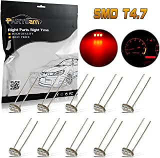 Partsam 10Pcs 4.7mm-12v Car Red Mini Bulbs Lamps Indicator Cluster Speedometer Backlight Lighting