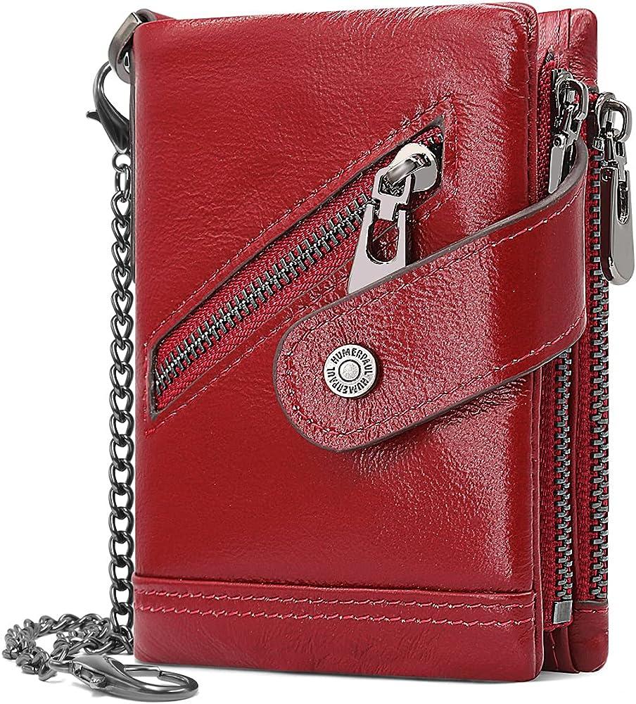 Yeruue portafoglio da uomo sottile porta carte di credito con protezione anticlonazione in vera pelle rossa