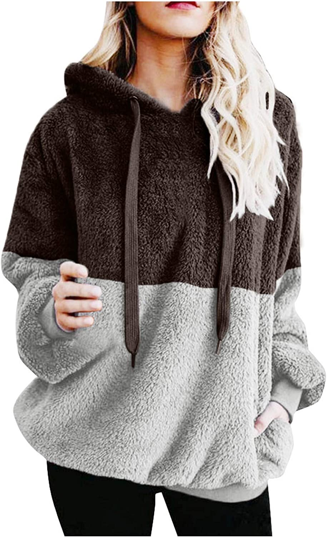 FABIURT Hoodies for Women, Womens Oversized Warm Double Fuzzy Hoodies Casual Loose Pullover Hooded Sweatshirt Outwear